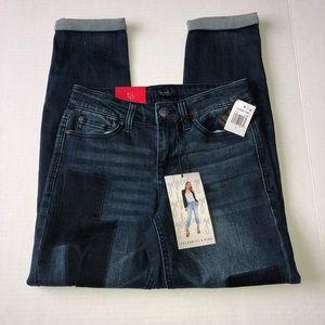 Celebrity Pink Girlfriend Jeans Patches Cuffed Hem